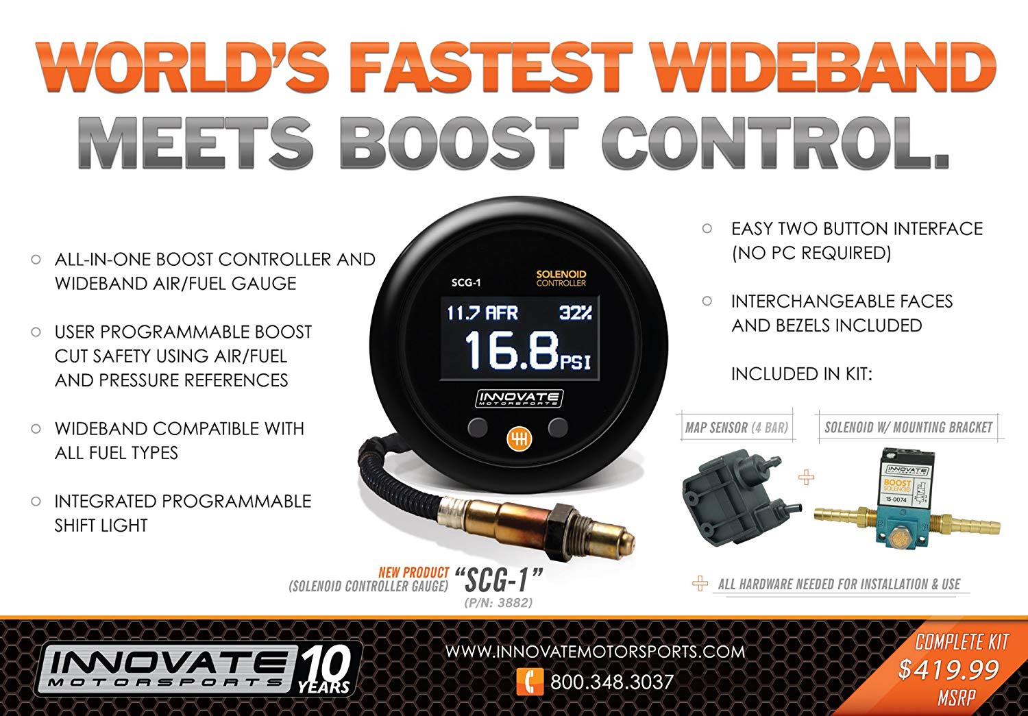 Innovate Motorsports (3882 SCG-1 Solenoid Boost Controller and Air/Fuel Ratio Gauge Kit